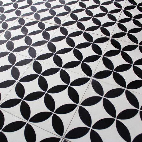 Carreau Ciment Motif Artisanal Fait Main Acacia Noir Et Blanc
