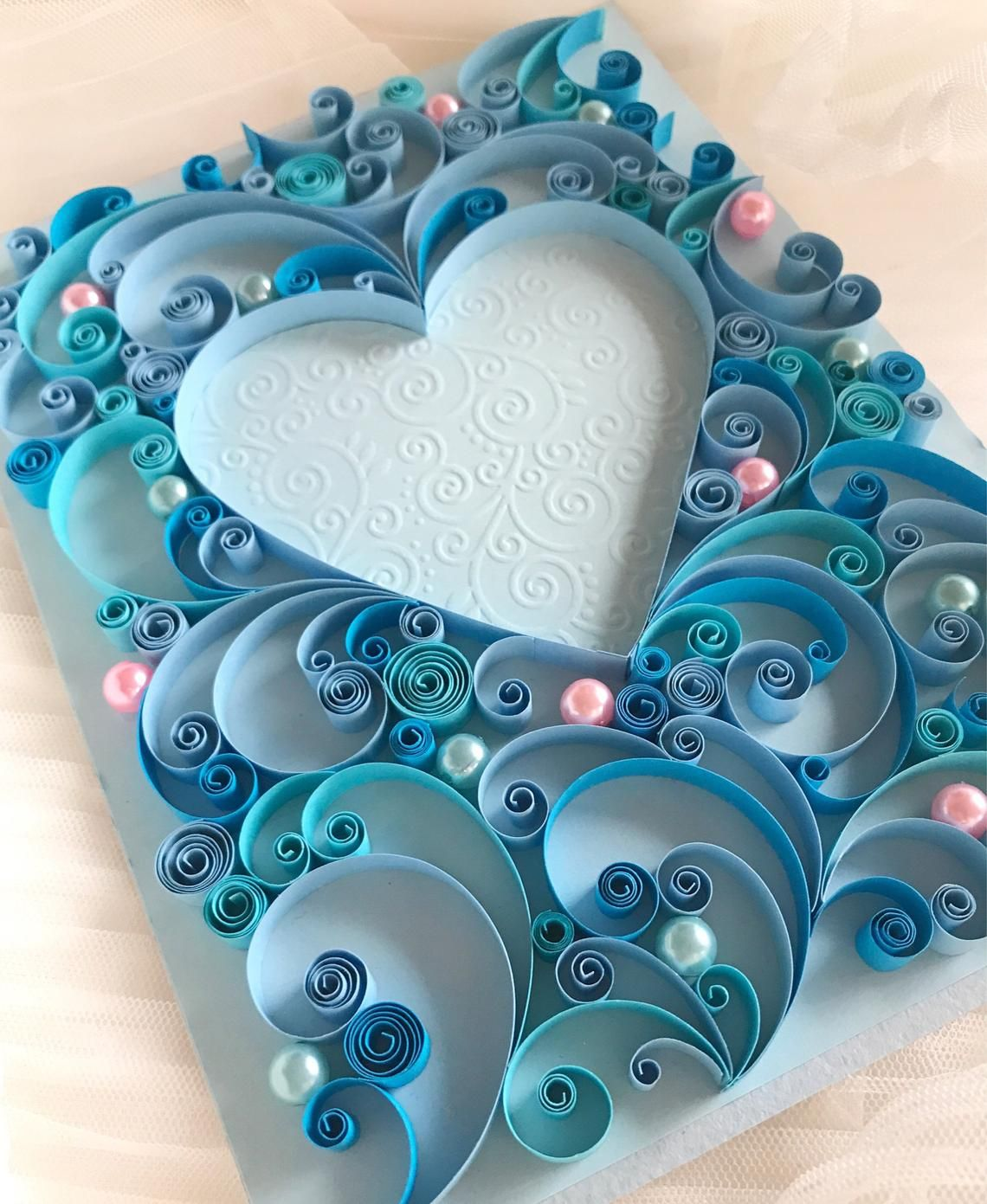 Quilling Art 3D Handmade Greeting Card Wedding Card Love | Etsy