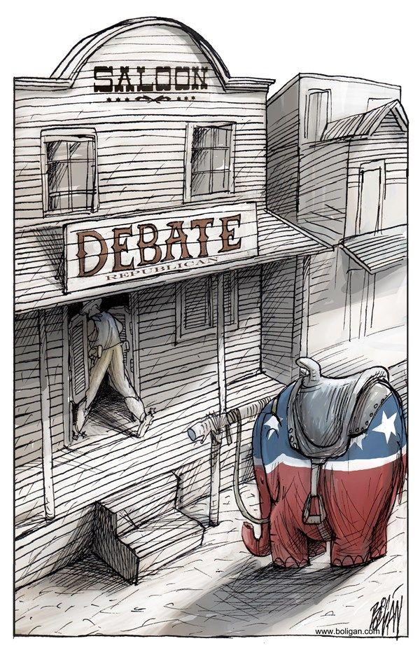 Debate republicano, Angel Boligan,El Universal, Mexico City, www.caglecartoons.com,debate, republicano, trump, oeste, violencia, saloon