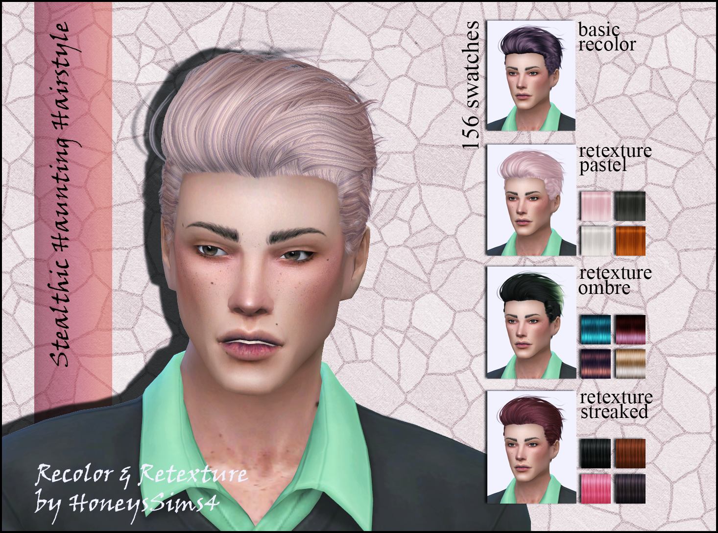 Sims 4 Male Hair Recolor Retexture By Honeyssims4 Mesh By Stealthic