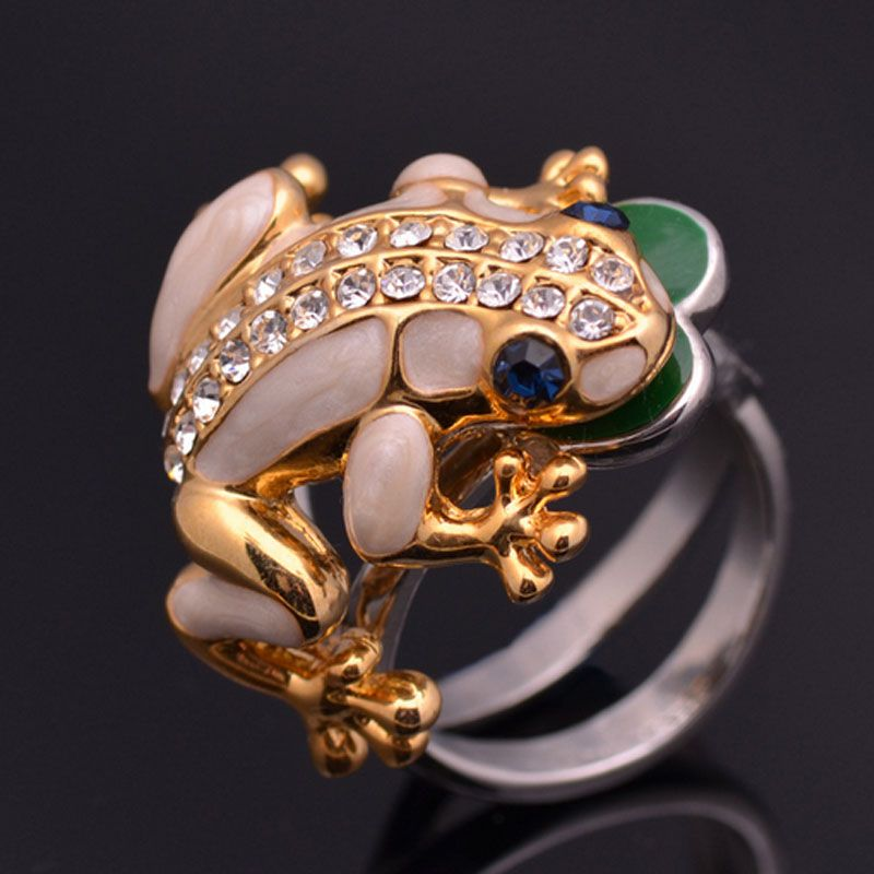 Lotus leaf frog alloy crystal Animal Ring Frog Jewelry Gift For