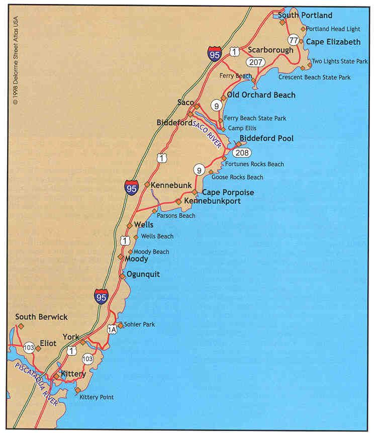 Map Of Maine S Coast From Kittery To Cape Elizabeth Fishing