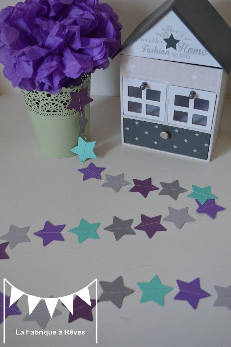 Guirlande étoiles turquoise violet mauve gris - décoration chambre ...