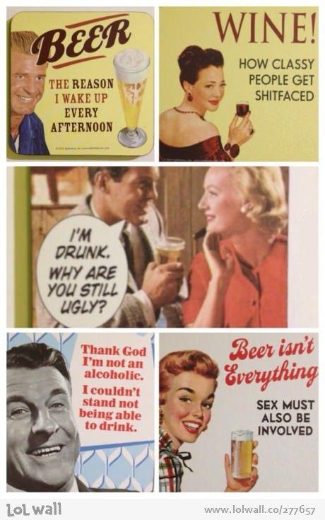 Vintage slogans about alcohol