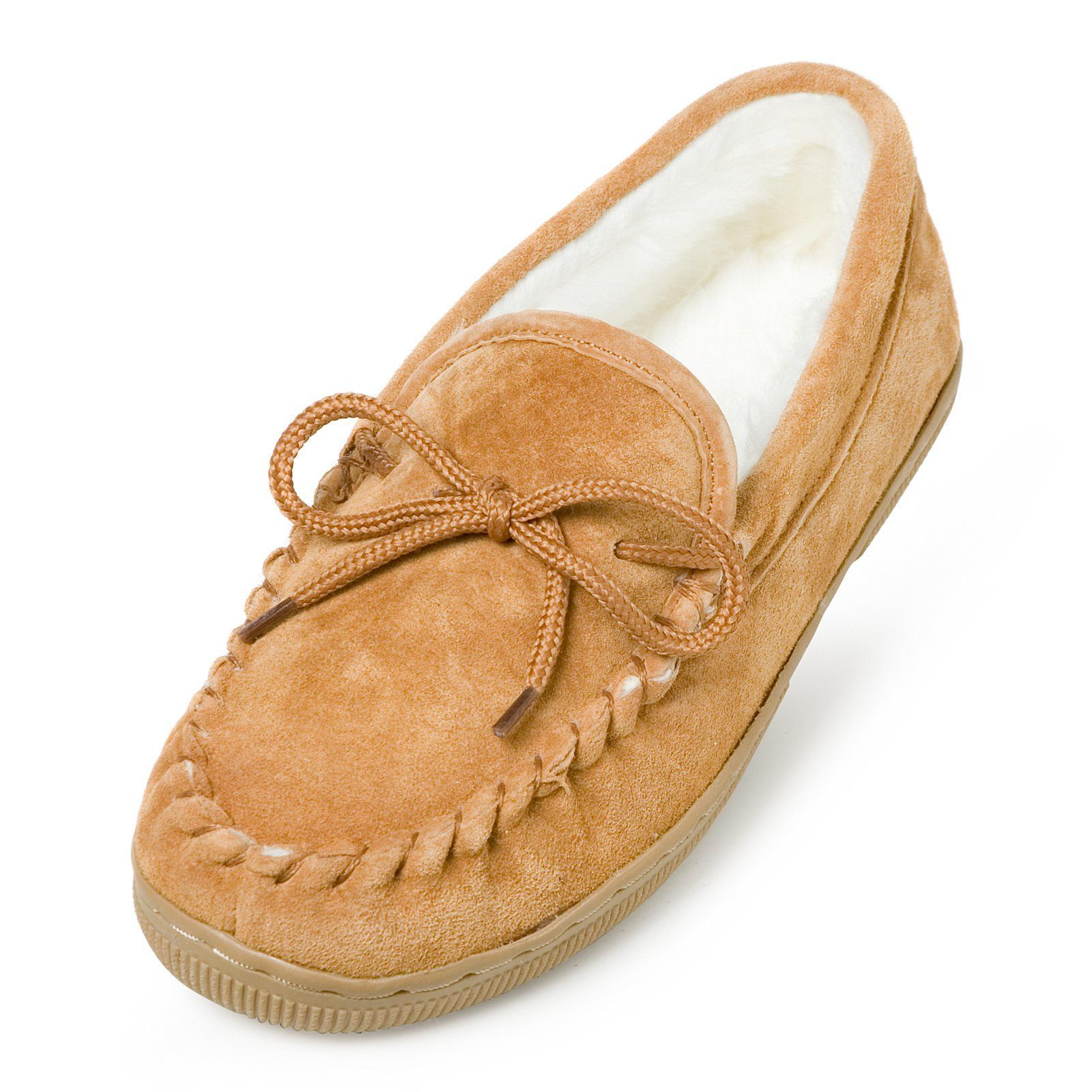 4e2b92bfe45fbb Lamo Womens Suede Moccasin Slippers - Chestnut - P002W-6 CHESTNUT ...