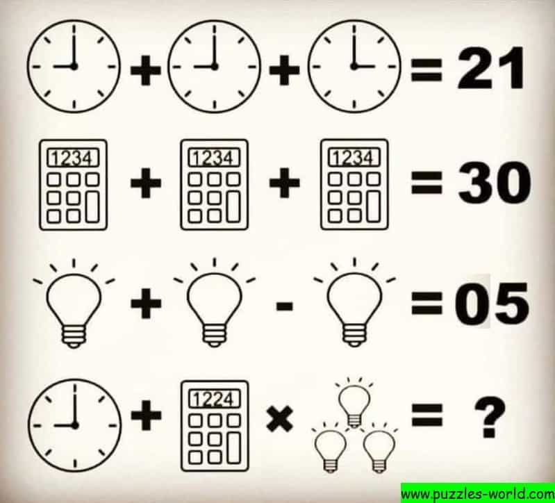 Clock Calculator Bulb Puzzle Maths Puzzles Math Riddles Brain Math Puzzle time worksheet answers