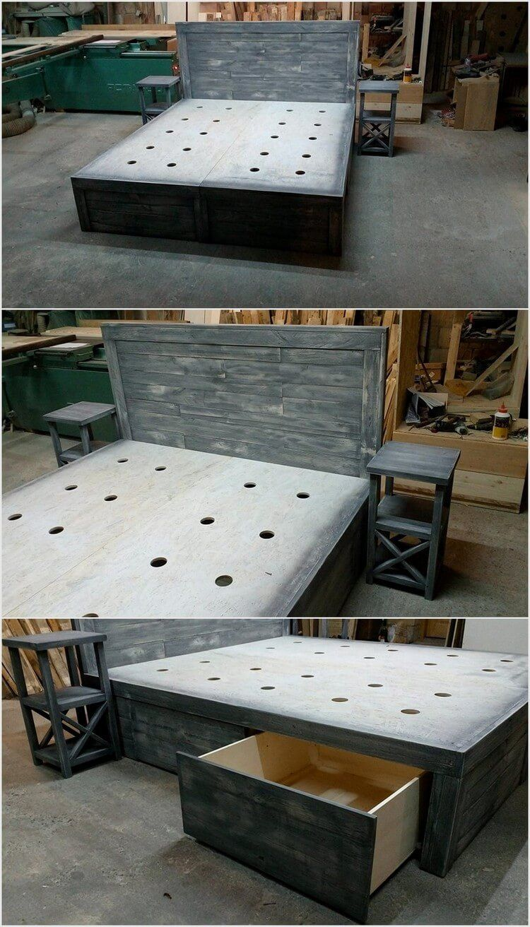 You Can Make Pallet Wood Bed In Grey Shade We Have Made Pattern On The And Also It Drawers These Built Be Used To Secure Protect