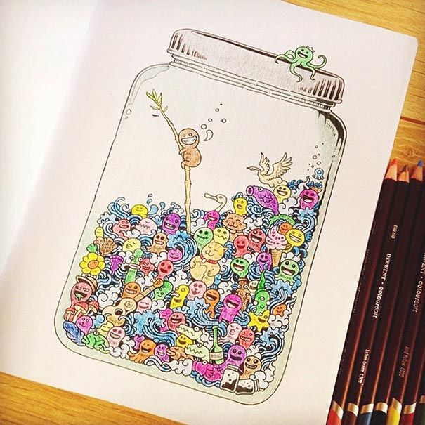 coloring book for adults titled doodle invasion by kerby rosanes - Doodle Coloring Book