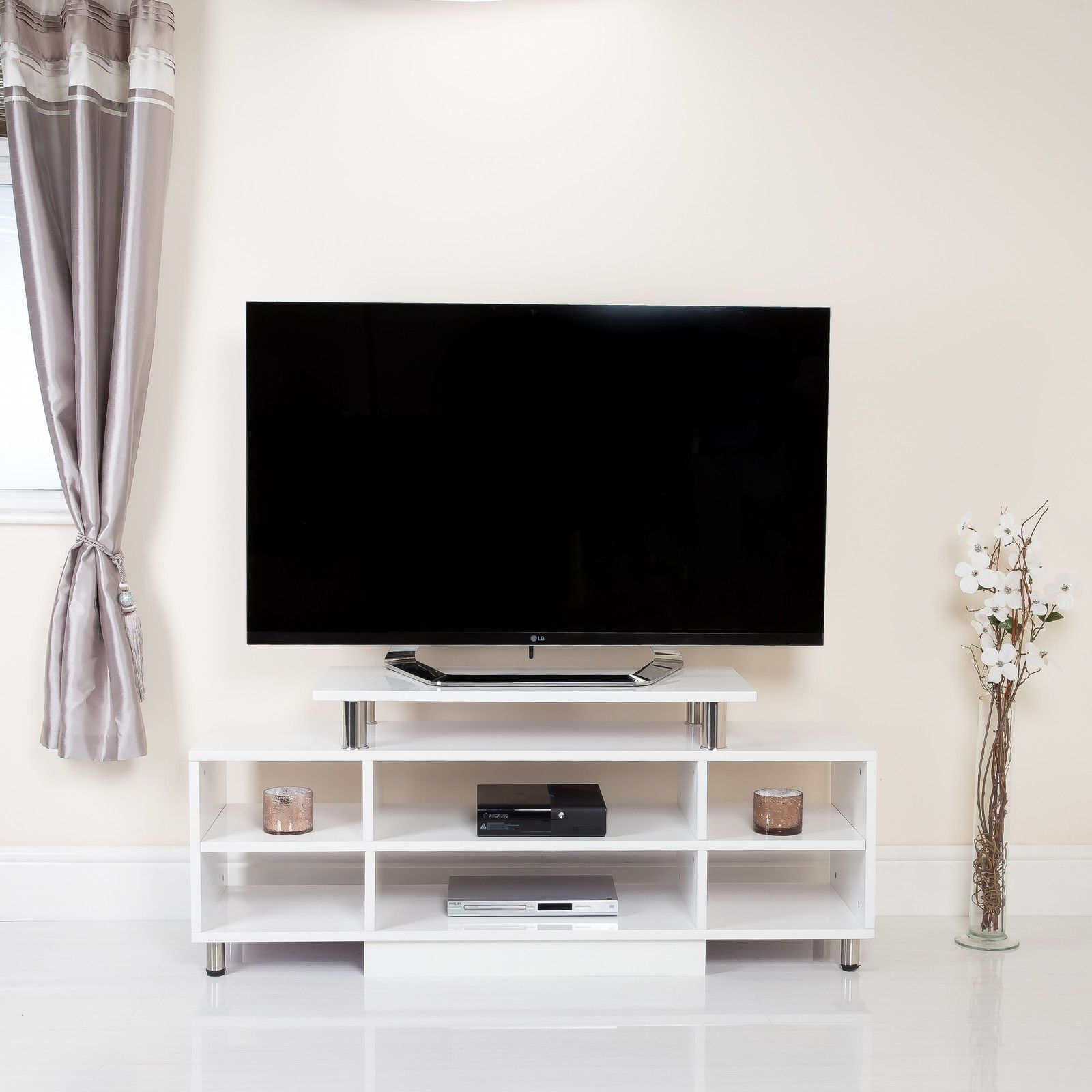 For a tv stand that combines style with storage choose this shelf