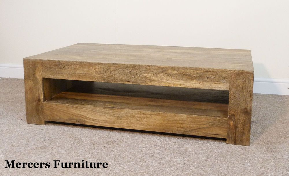 Mantis Light Natural Solid Mango Coffee Table With Shelf By