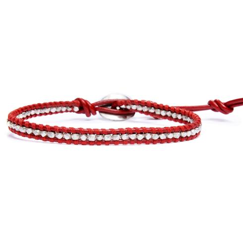 Add a pop of color to your look with this red leather bracelet, featuring sterling silver beads.  It's perfect for wearing solo, in a stack ...