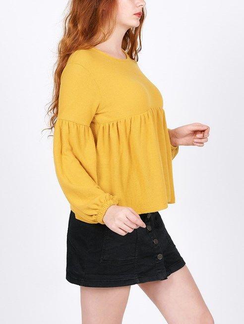 Bayan Sari Balon Kol Bluz E 377 Moda Moda Kiyafetler Moda Stilleri