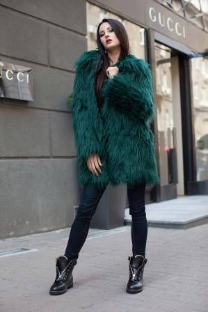 7bb718e5c68 Emerald green faux fur coat