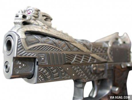 Engraved pistol