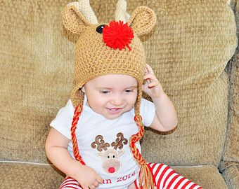 baby/toddler reindeer set, reindeer hat, striped legs,reindeer photo prop, rudolph cake smash, rudolph/reindeer outfit