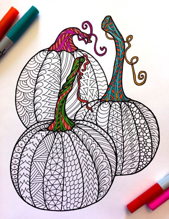 3 Pumpkins PDF Zentangle Coloring Page By DJPenscript On Etsy