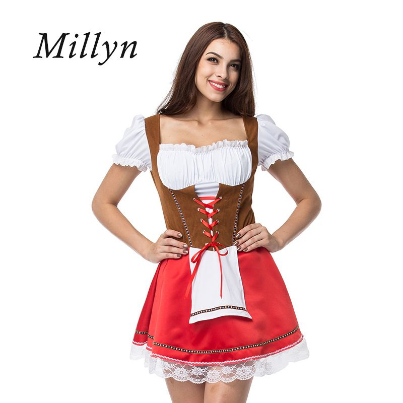 2e5504e555b Millyn Halloween Germany Oktoberfest beer girls clothes bars stage costumes  Plus Size Maid Fancy Dress Cosplay Costume M-4XL Material  flannelette