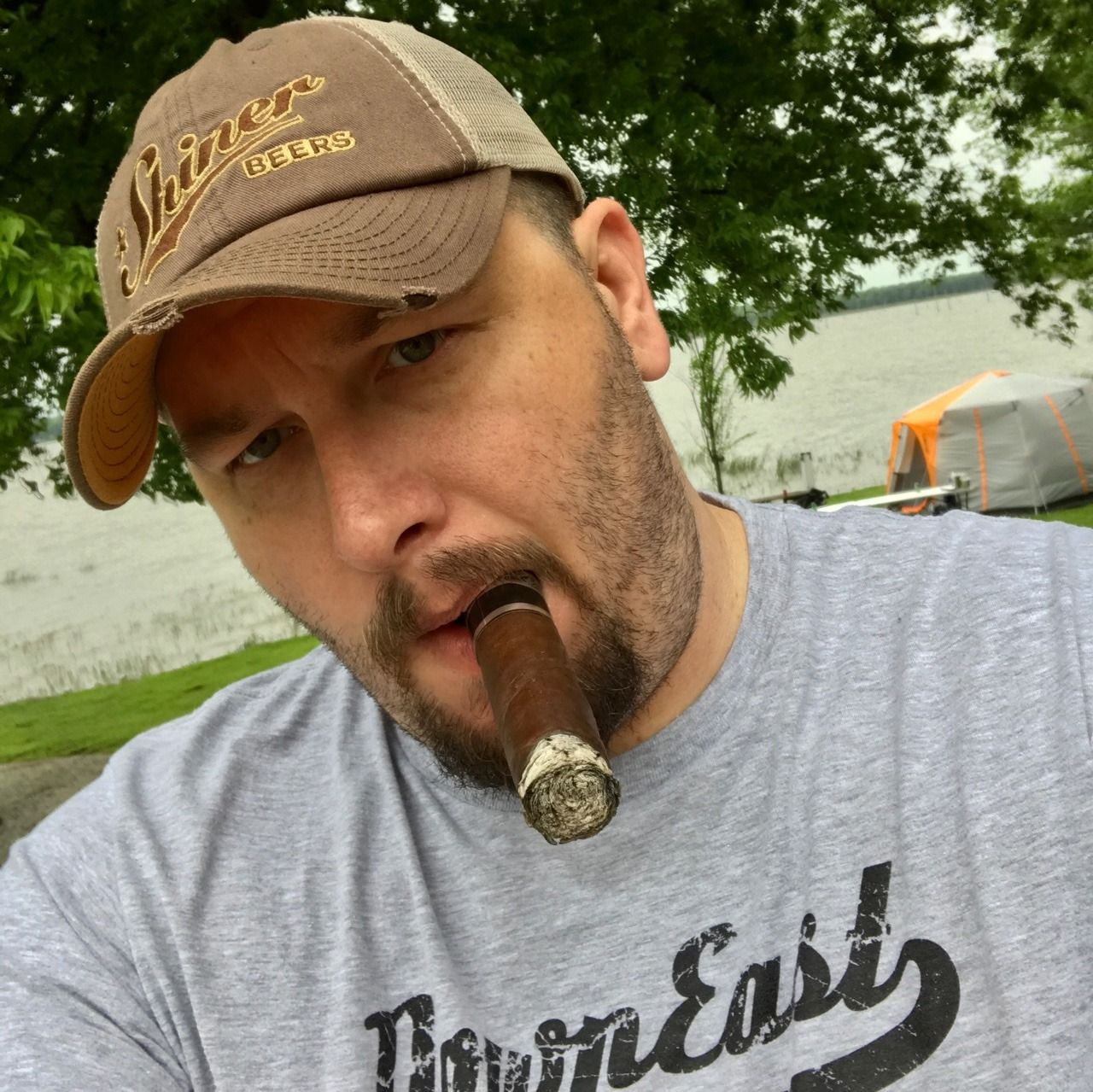 """houstonbubba: """"There's something great about beer, cigars and a cocksucker  milking my sweaty cock at the campground. """""""