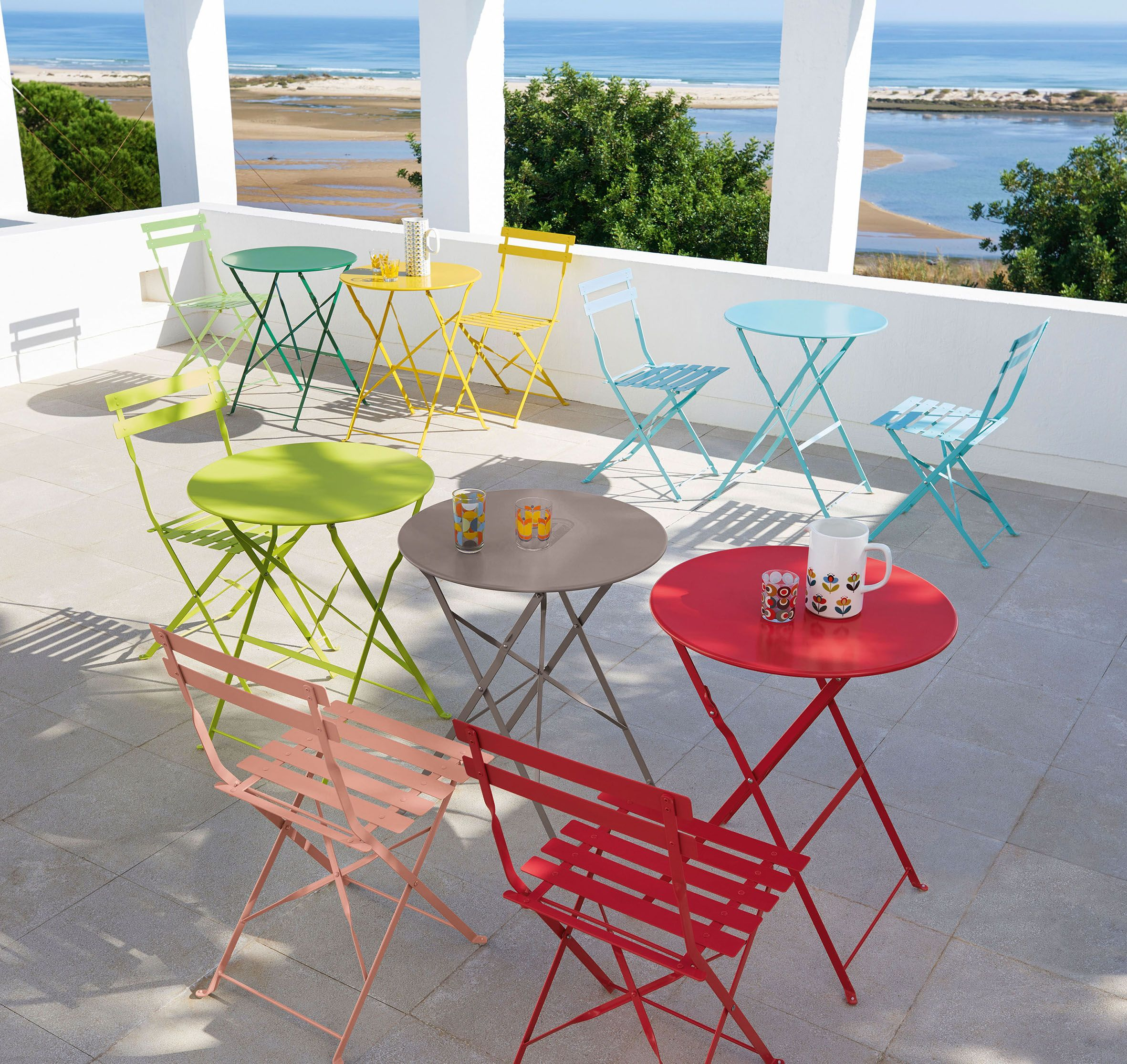 Terrasse Haute En Couleur Multicolore Meuble De Jardin Table Chaise Repliable Rouge Bleu Vert Pomme Ja Folding Garden Table Garden Table Folding Garden Chairs