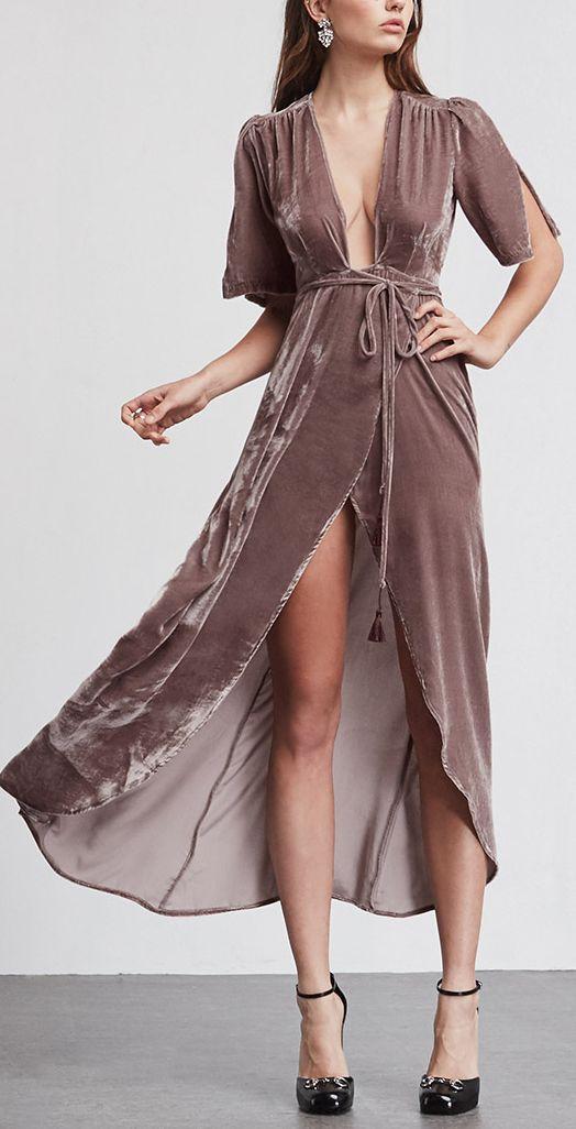 f2460047dd2a Silk velvet wrap maxi Bordeaux Dress