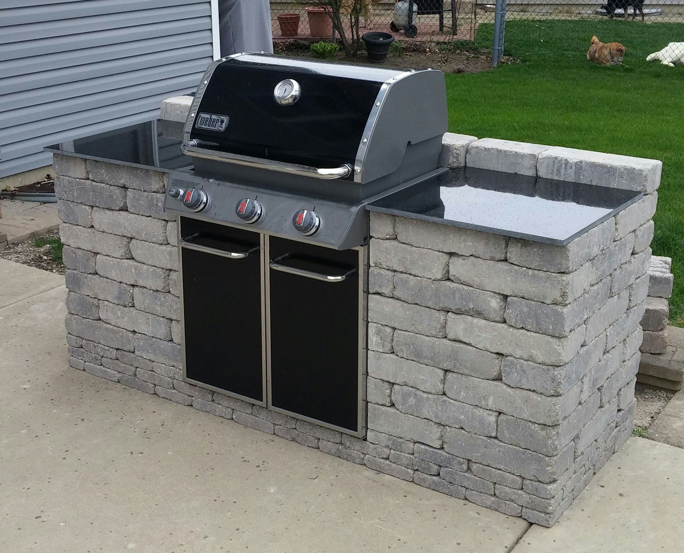 A weber mega grill bining a weber gas and charcoal Bbq into an