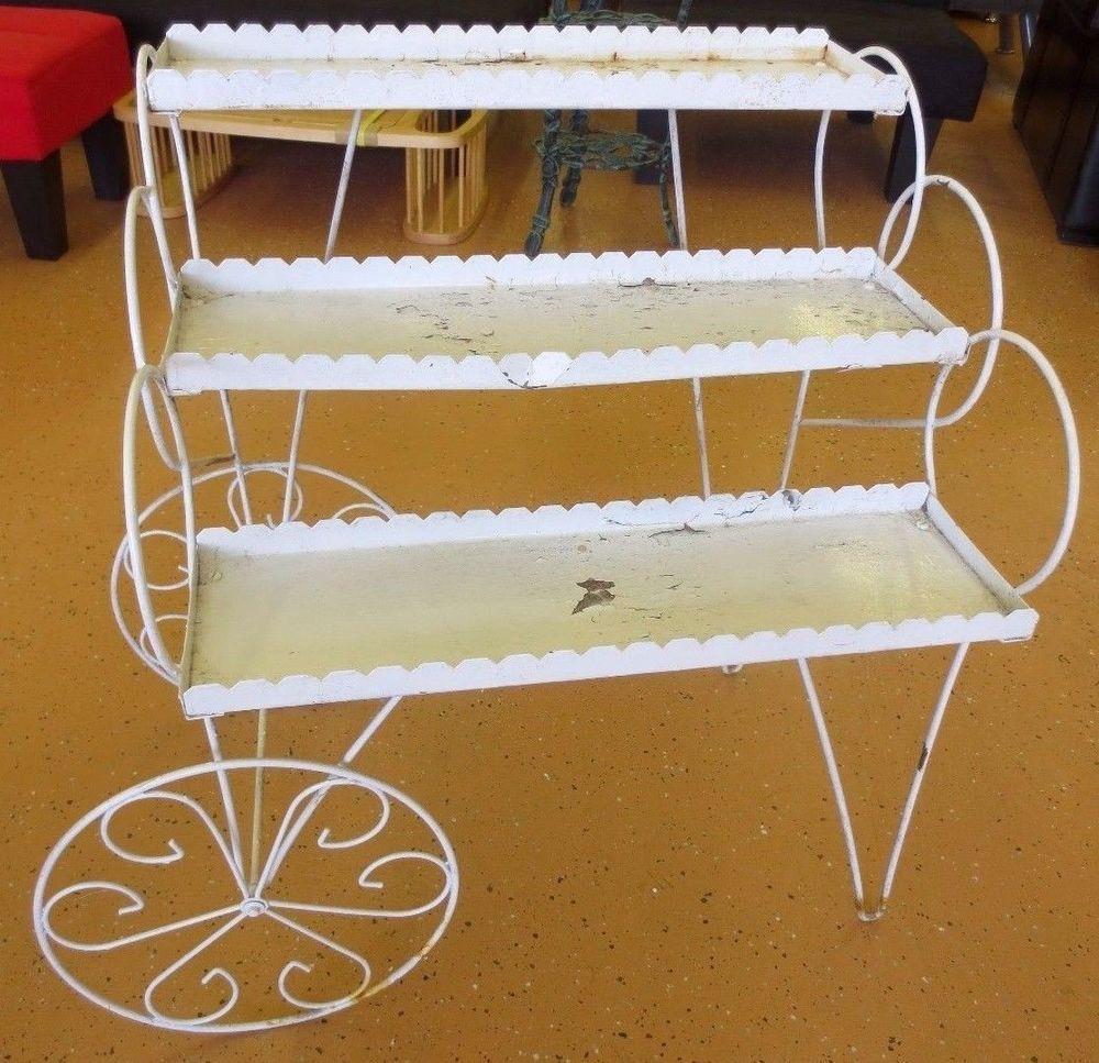 Vintage White Mid Century Pull Cart Wagon Plant Stand 3 Tier Hairpin Front  Legs In Home U0026 Garden, Yard, Garden U0026 Outdoor Living, Garden Décor
