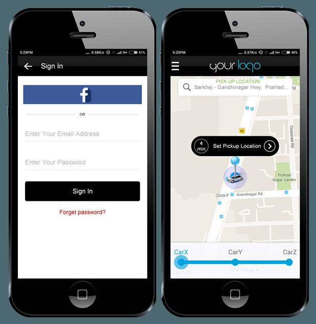 Demo Taxi app, Uber app, App