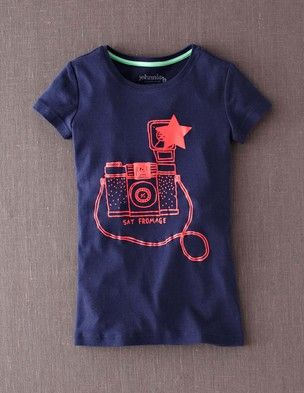 Another cute graphic from Johnnie B (Boden's tween/teen brand). It does have cap sleeves and a tighter fit than my daughter likes, but it might work for your girl. Sizes 8-16.
