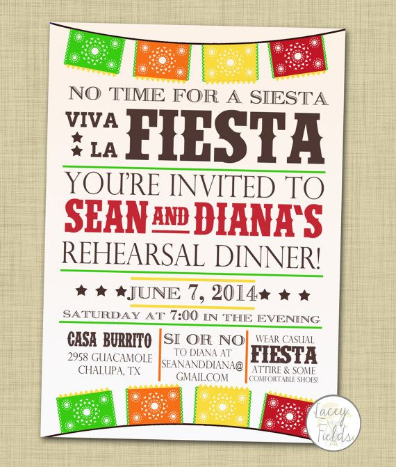 Rehearsal Dinner Invitation Printable Fiesta Rehearsal Dinner