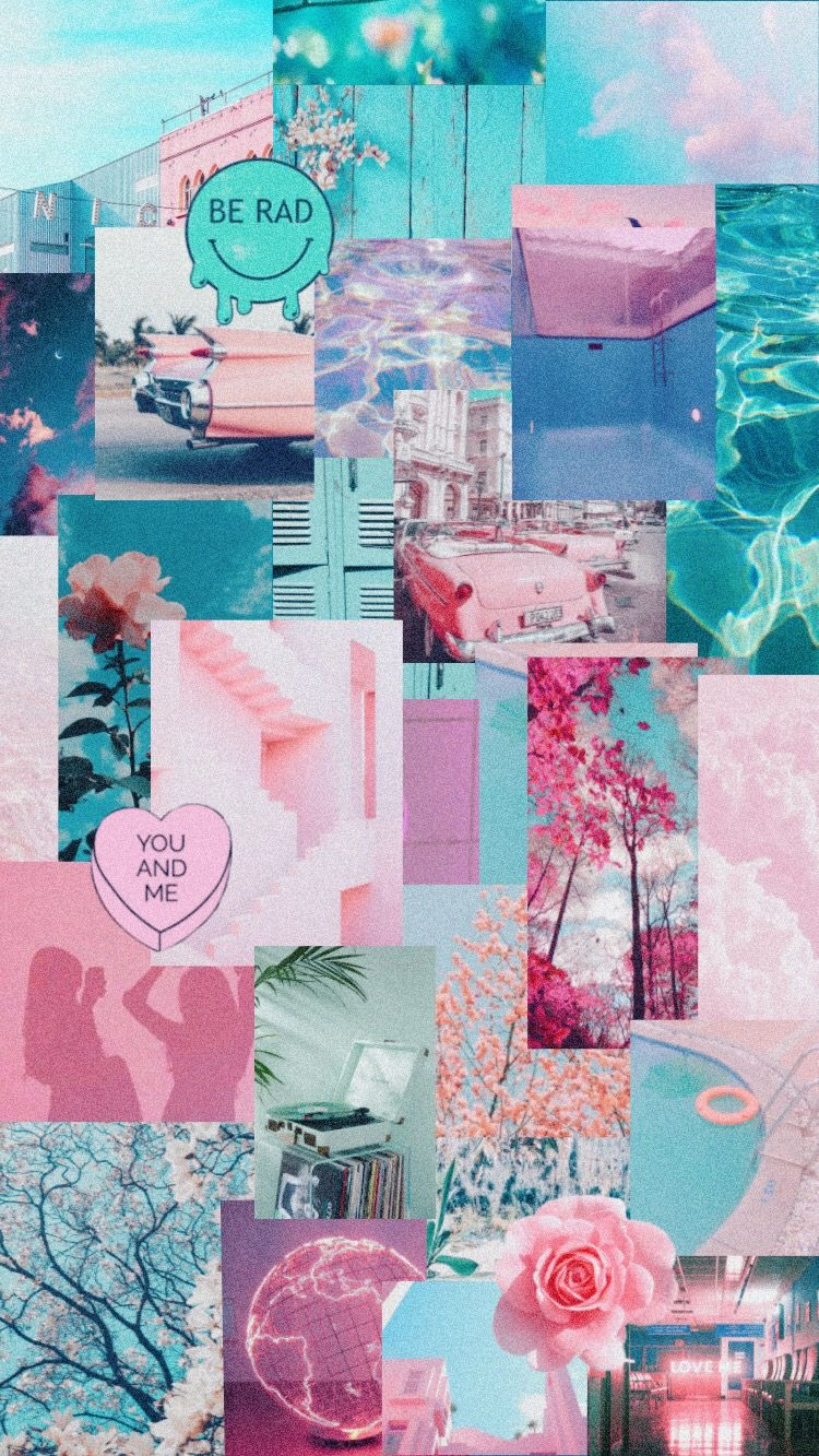 pink blue teal happy aesthetic pool collage summer