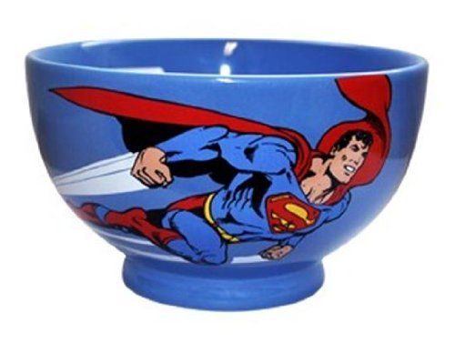 Superman DC Comics Ceramic Cereal Bowl Logo Flying  b7d6b955761
