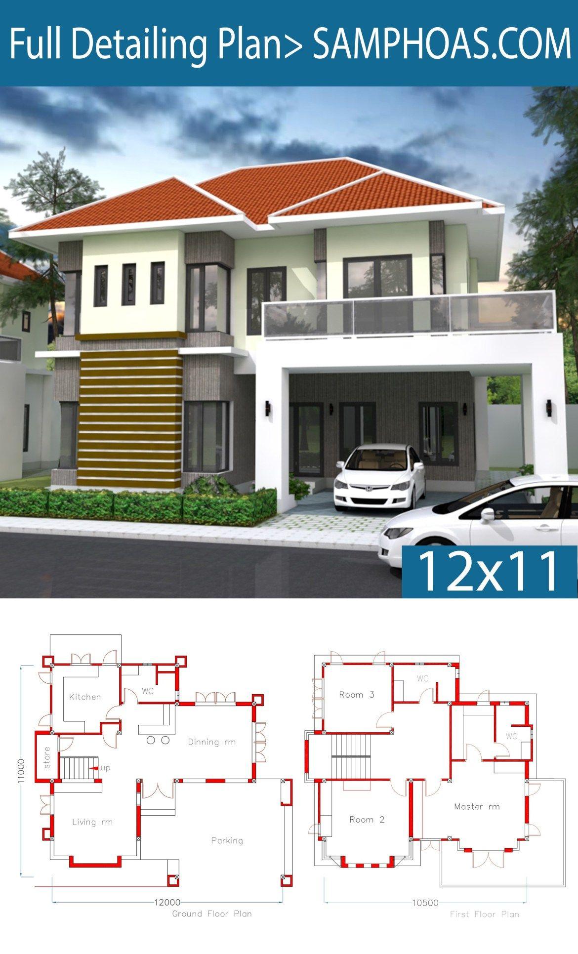 3 Bedrooms Home Plan 12x11m Samphoas Plansearch House Plans House Layout Plans House Design