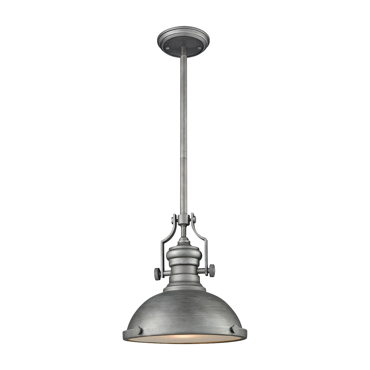 Chadwick light pendant in weathered zinc with frosted glass