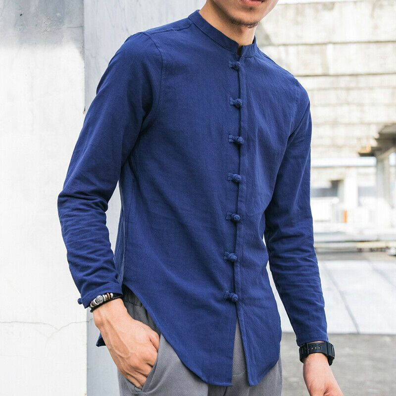 Retro Col Bouton traditionnelle chinoise Hommes Kung Fu Linen Shirts Tops New