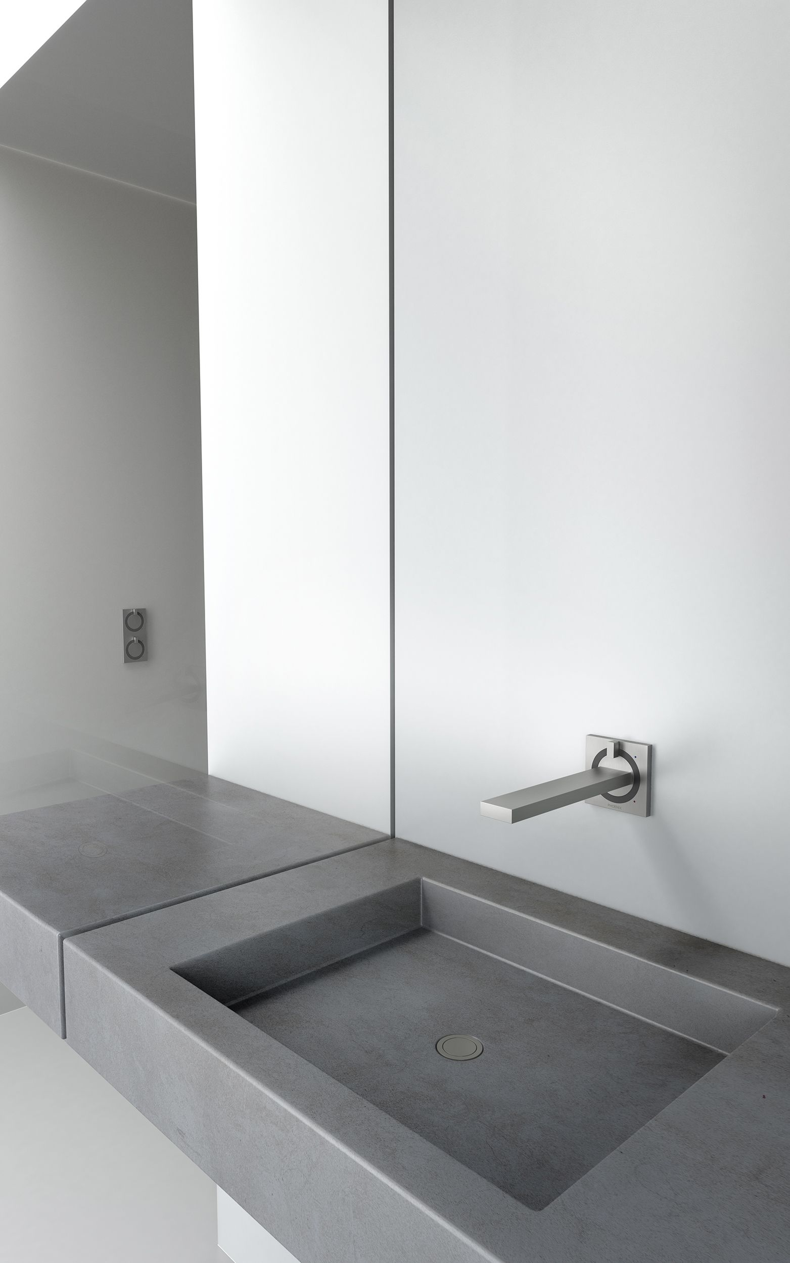 Ortho Wall Basin Mixer Set Twin Shower Mixer Matte Brushed Nickel By Phoenix Tapware Twin Shower Basin Basin Mixer