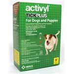 Activyl Tick Plus is a topical, once-a-month acaricide that combines the effective flea control of ACTIVYL with long-lasting protection against ticks. Once applied, Activyl Tick Plus kills fleas and repels and kill ticks for up to four weeks. Activyl Tick Plus has been shown in studies to be more than 96 percent effective against four tick species known to carry such diseases as Rocky Mountain spotted fever, ehrlichiosis and Lyme disease. Do not use in cats.
