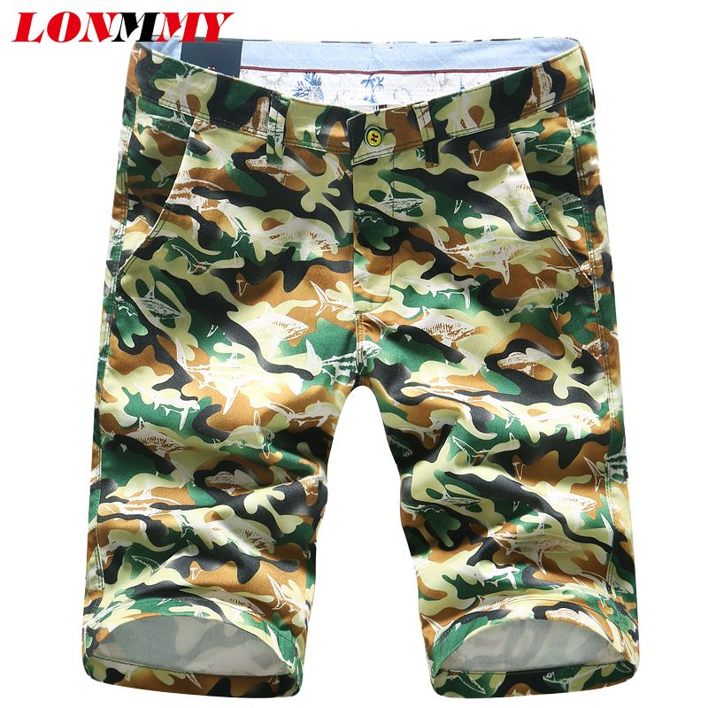 ed8d3ad741a3 LONMMY 29-40 Camouflage shorts mens cotton Fashion Floral Slim fit Casual  beach shorts men