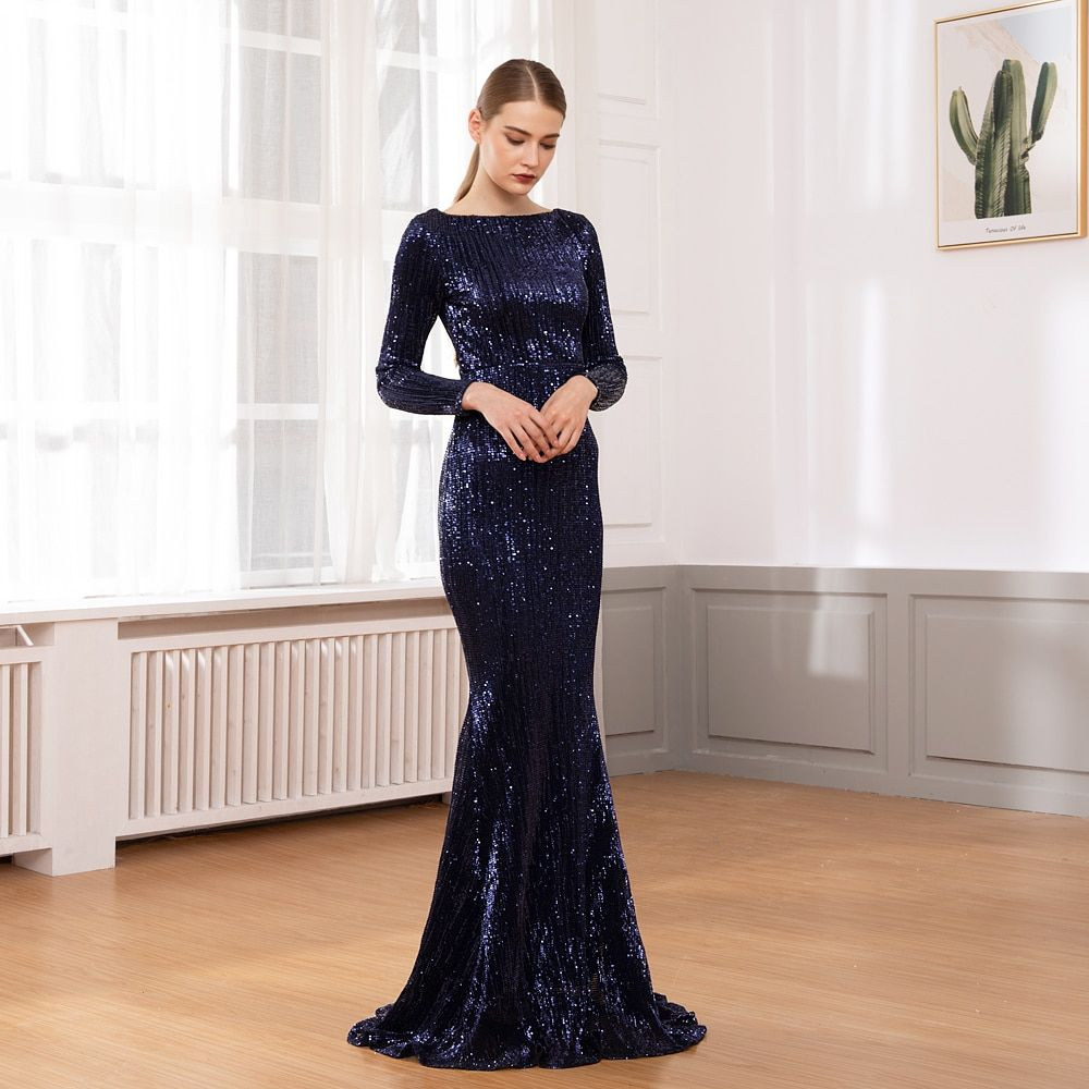 O Neck Sequined Party Dress Long Sleeve Bodycon Full ...