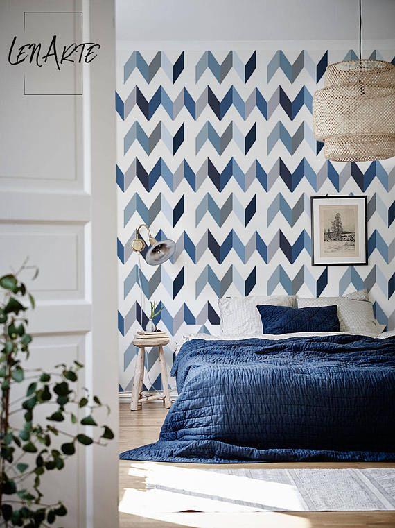 Chevron Blue Wallpaper Blue Pattern Wall Decor Self Etsy Wall Patterns Modern Interior Decor Modern Interior