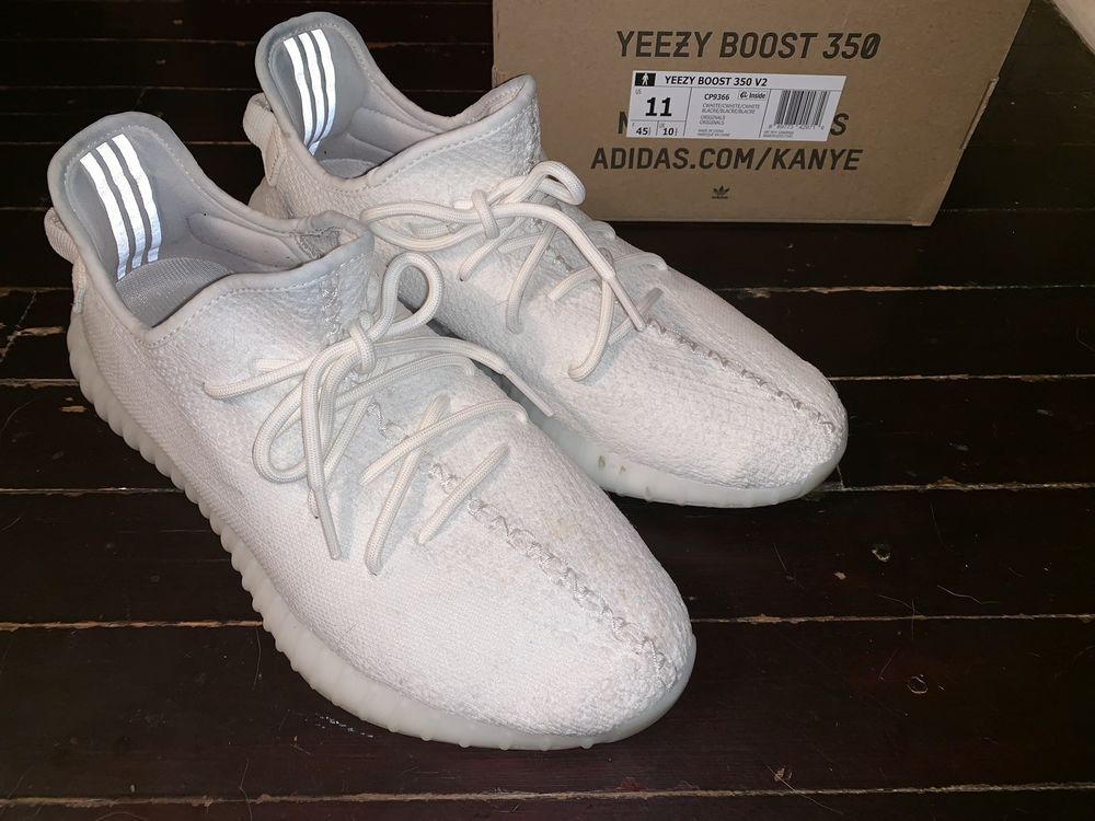 Adidas Yeezy Boost 350 V2 Cream Cp9366 Triple White Used With