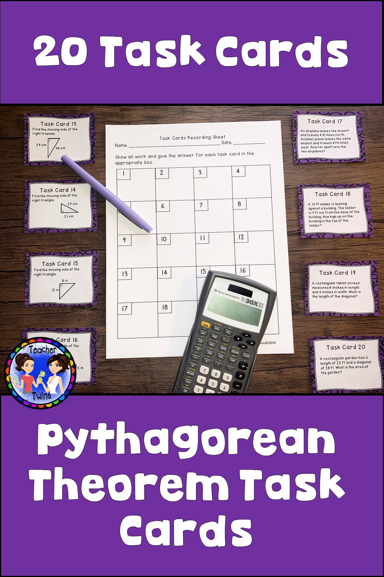 Fresh Ideas - Pythagorean Theorem Task Cards Task cards, Pythagorean