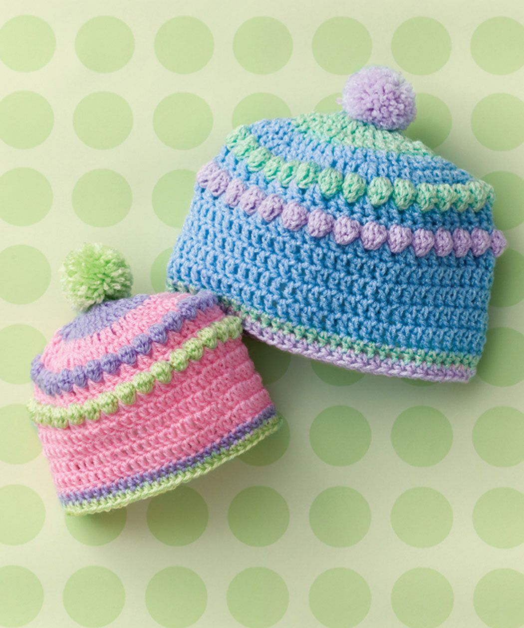 Baby will look fashionable in this colorful hat perfect for shopping or visiting grandma. Make a few now and have them ready for the next shower! #redheartyarn