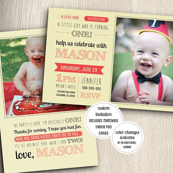 one year old birthday party invitation with matching thank you, invitation samples