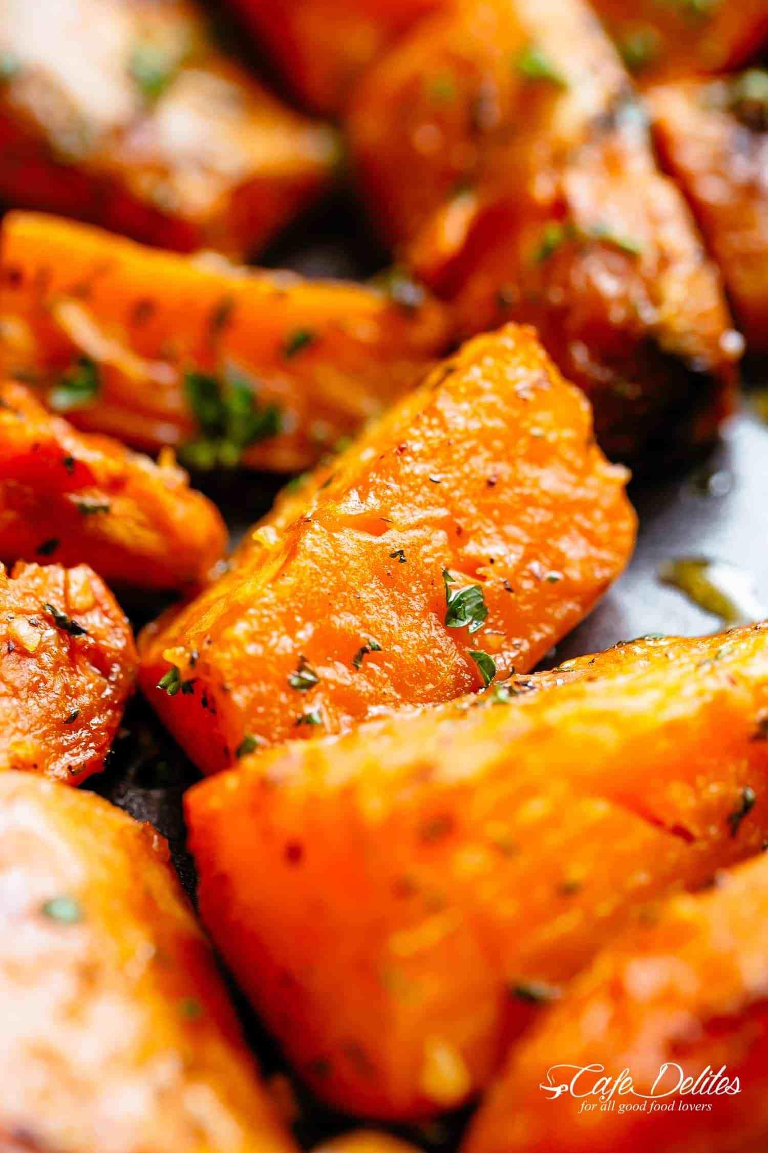 Easy Roasted Sweet Potatoes with irresistible caramelised
