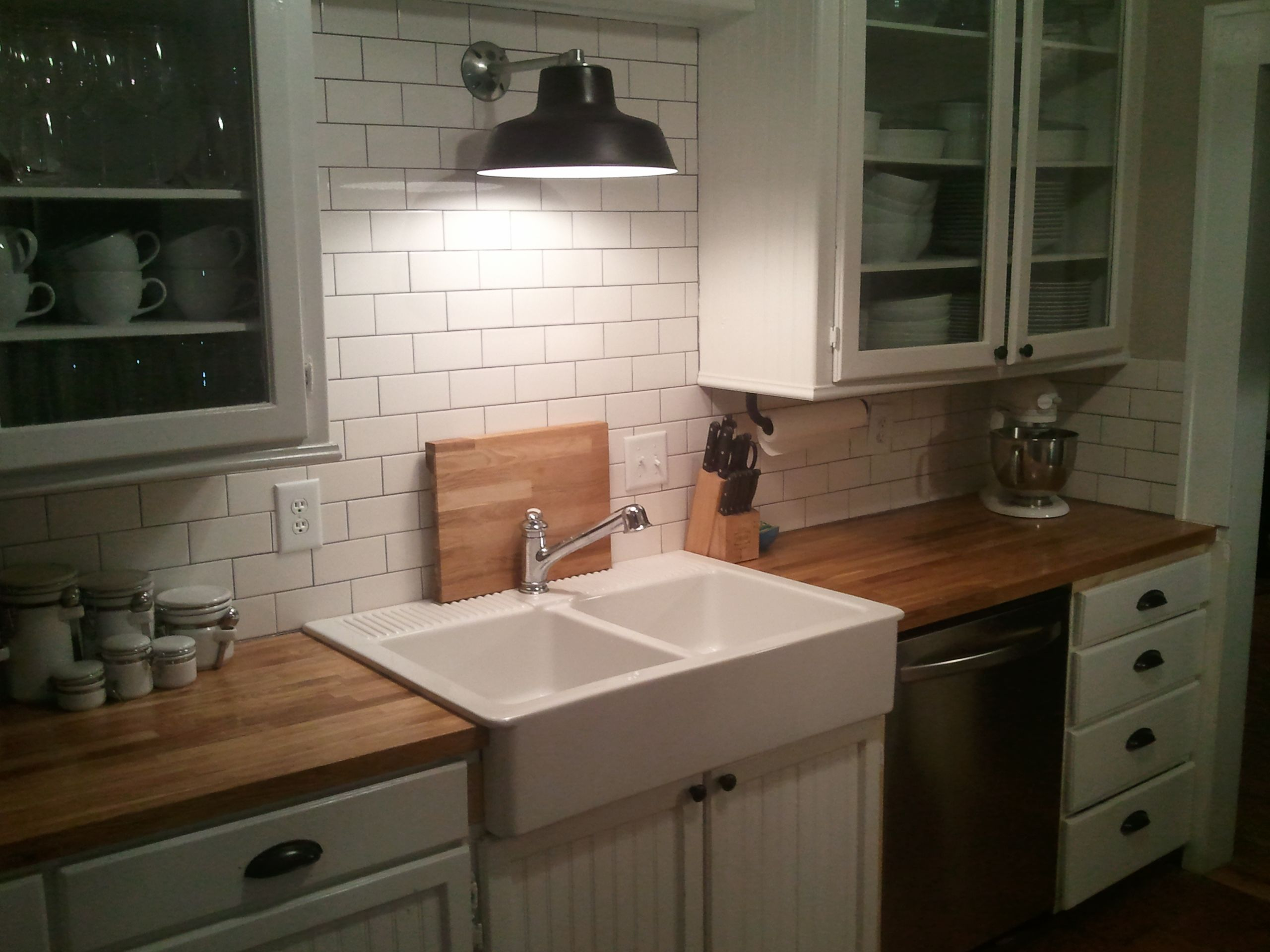Our Small Kitchen DIY Remodel In North Dakota: IKEA Farmhouse Sink, IKEA Butcher  Block Countertops, LOWES Warehouse Pendant, And HOME DEPOT Subway Tile.