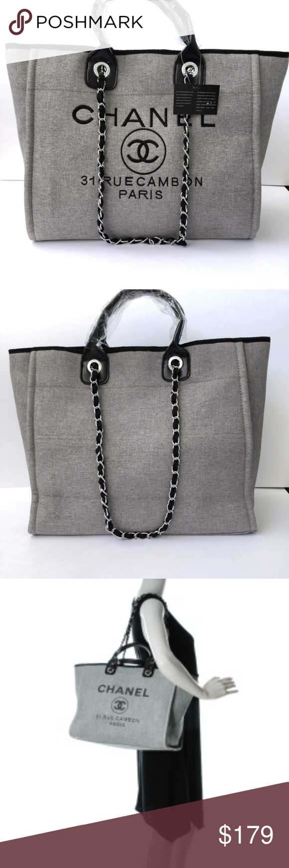 fed45381517b83 Spotted while shopping on Poshmark: Chanel Canvas Tote Bag Shoulder Bag VIP  NEW Grey! #poshmark #fashion #shopping #style #C H A N E L #Handbags