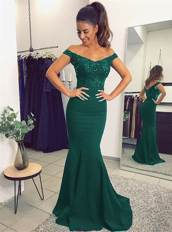 a7b353b37c5 Long Jersey V Neck Mermaid Evening Dresses Lace Off The Shoulder ...