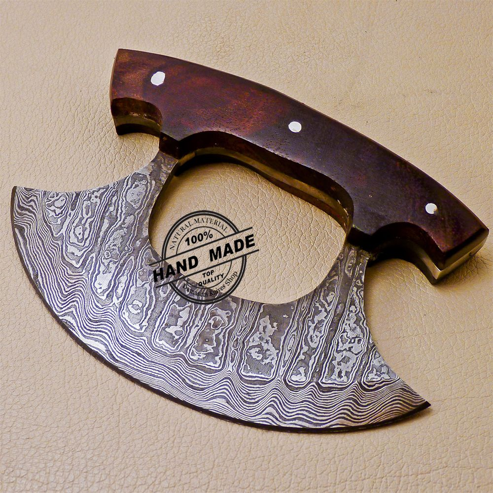 damascus kitchen knives cream colored painted cabinets ulu knife custom handmade with rose wood handle 1011