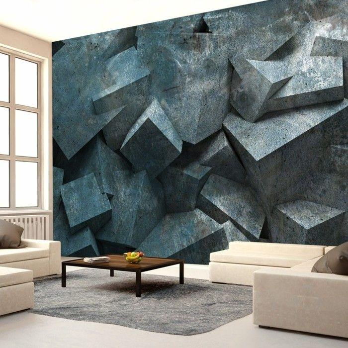 tapeten design 3d wohnzimmer Wandgestaltung - Tapeten