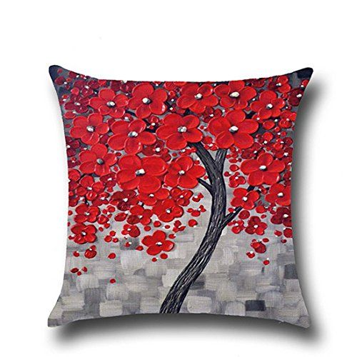Hoomall 3D Oil Painting Sofa Throw Pillow Case Cushion Covers Decorative Life Tree Flowers with Zipper 18x18 Red Grey * More info could be found at the image url.